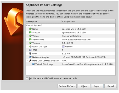 Setting up the OpenNAO virtual machine — NAO Software 1 14 5
