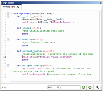 Hello World 2 - using Python in Choregraphe — Aldebaran 2 4