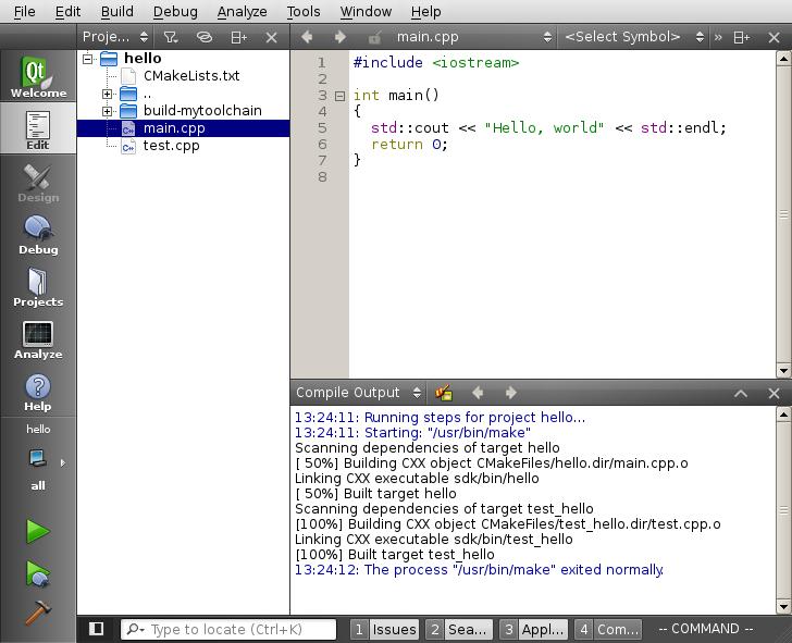 Building with qibuild and QtCreator — qiBuild 3 13 documentation